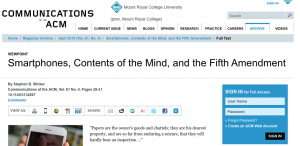 Article: Smartphones, Contents of the Mind, and the Fifth Amendment