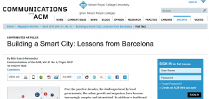 Article: Building a Smart City: Lessons from Barcelona
