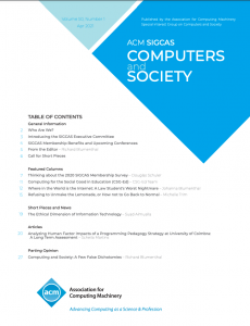 Computers and Society Volume 50 Spring 2021 Edition Now Available