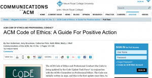 Article: ACM Code of Ethics: A Guide For Positive Action