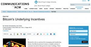 Article: Bitcoin's Underlying Incentives